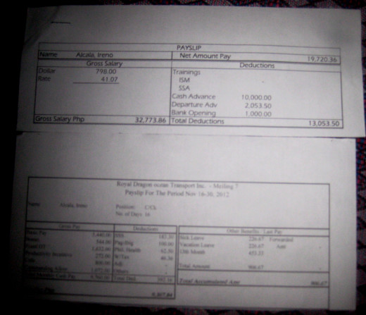 Samples of my Payslip as a seafarer (Photo Source: Ireno A. Alcala aka travel_man1971)