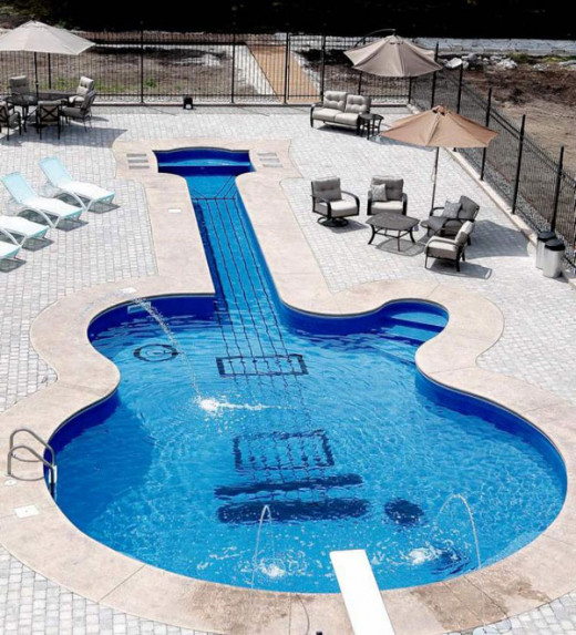 Guitar Shaped Swimming Pool - extreme swimming pool