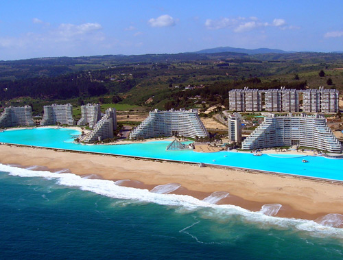 Largest Swimming Pool in the World - Chile with a Birds Eye View along the Pacific Ocean