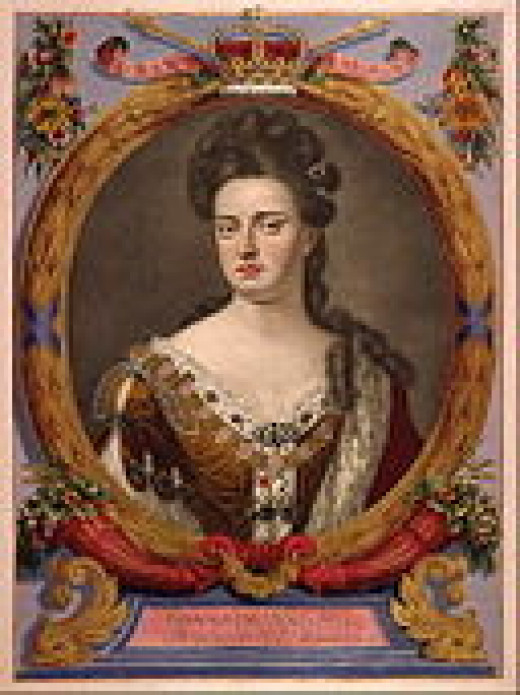 A tinted engraving of Queen Anne of England, artist unknown