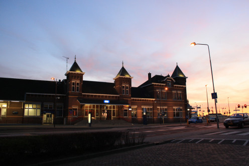 Kampen at sunset: the station building in 2012