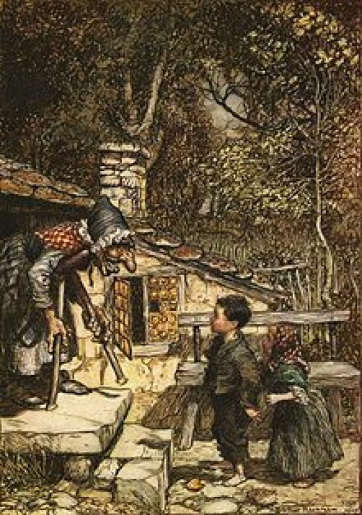 Witch greeting Hansel and Gretel