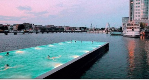 Badeschiff is an old barge or cargo container that has been converted into a public swimming pool in Berlin, Germany.