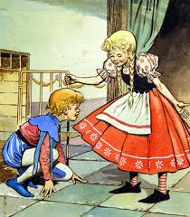 Gretel frees Hansel from cage.
