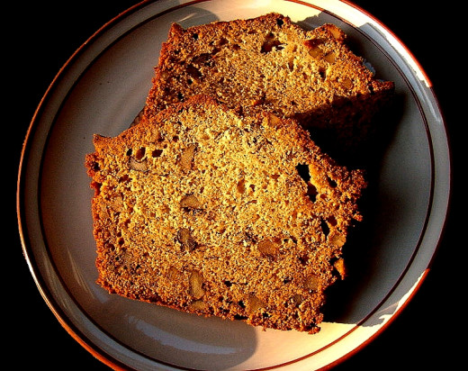 Slices of Banana Bread with Walnuts