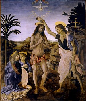 """The Baptism of Christ"", a collaboration between painter Andrea del Verrocchio and a young Leonardo de Vinci, generally believed to have been completed around the year 1475"