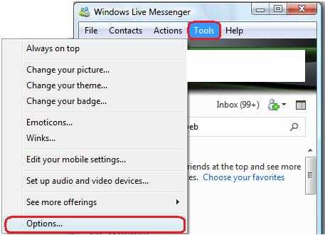 Click Tools, then Options to open the options menu.