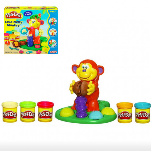Get your child Play-Doh sets. Kids can extrude, cut, mould and create their own Play-Doh creations with these sets. The Play-Doh Coco Nutty monkey is an interesting toy to introduce your toddler to Play-Doh