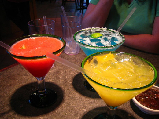 Different colored liquors, different colored Margaritas!