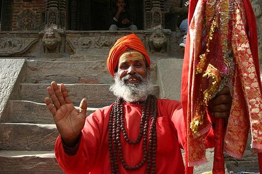 Man waving hand in Nepal