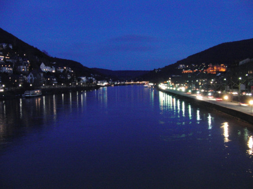 River Neckar from one of the bridges in Heidelberg