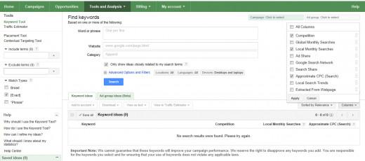 Screenshot of Google Keyword Tools