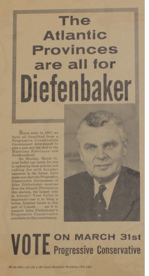 Election leaflet for Diefenbaker 1958