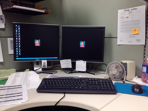 Nice neat desk on Monday morning... T minus 30 seconds to total chaos!