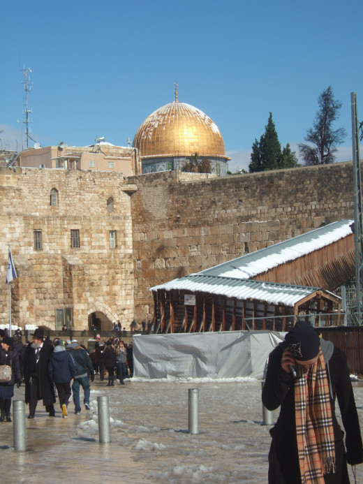 This is the Western Wall. The holiest site for Jews in the world. The Dome of the Rock above, is the holiest site for Muslims and Jews in the world. The alternative name for The Dome of the Rock is Temple Mount (Judaism).