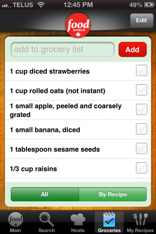 Added recipe to grocery list