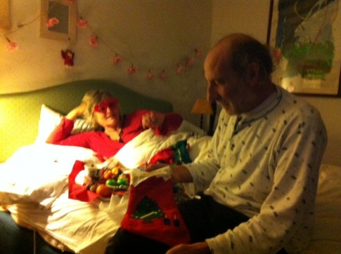 Give each other presents in bed