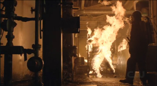 Danny goes up in flames.