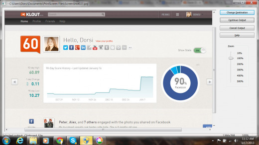 My Klout score varies between 60 and 61
