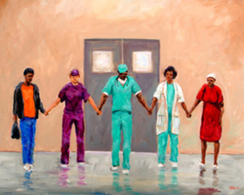 """Prayers Heal"" is a work of art depicting a surgeon who believes in prayer. The surgeon later bought the painting. Art of Ted Ellis."