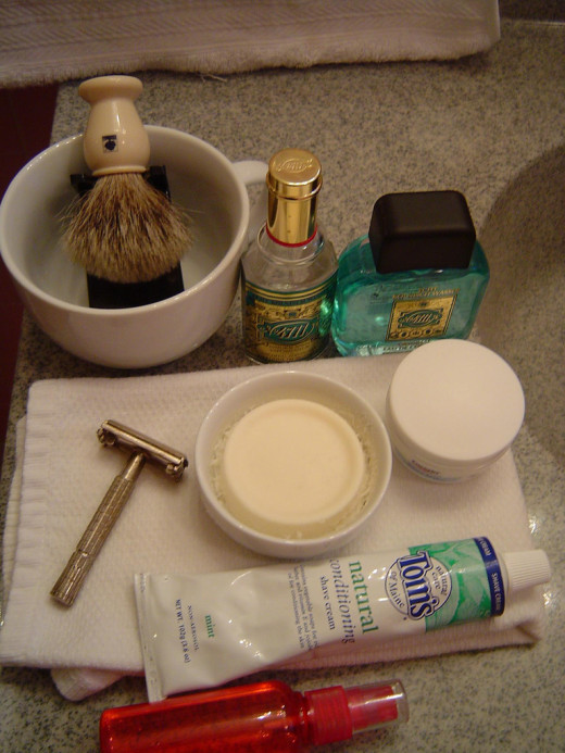 A complete shaving kit.
