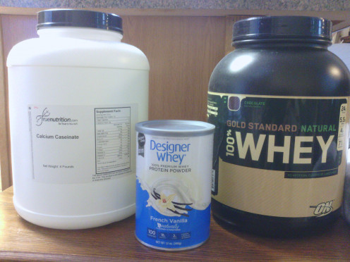 Different types of protein powders.