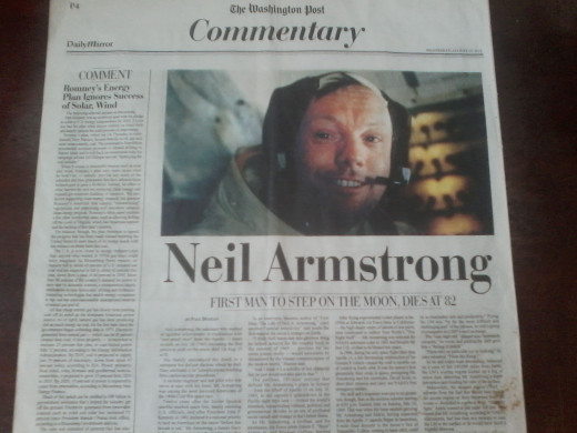 The Washington Post Announcing The Passing Away Of Neil Armstrong