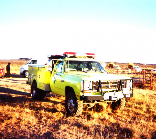 My brush truck on grassland fires in Texas.