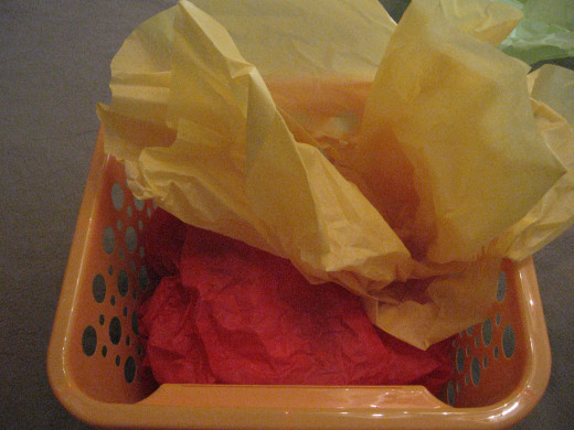 Add multi-colored tissue paper
