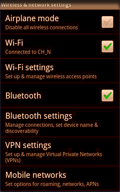 The Settings Screen of an Android Phone
