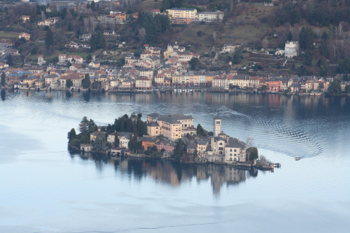 Lago d' Orta - Isola San Giulio, Italy - seen from the west. background Orta