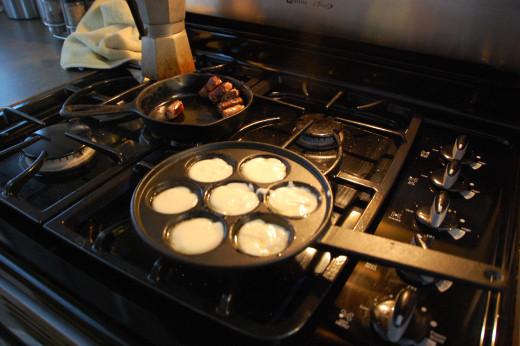 starting to cook the pancake puffs