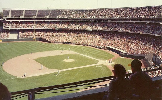 A view of the Oakland Coliseum in the early 1980s.