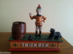 The Trick Dog- Cast Iron Mechanical Bank