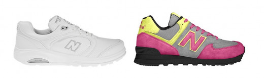 Women's New Balance Shoes 812, (left), and 574 Custom, (right). Sneakers Made in the USA.