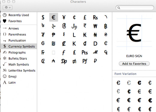 Character Viewer in OS X