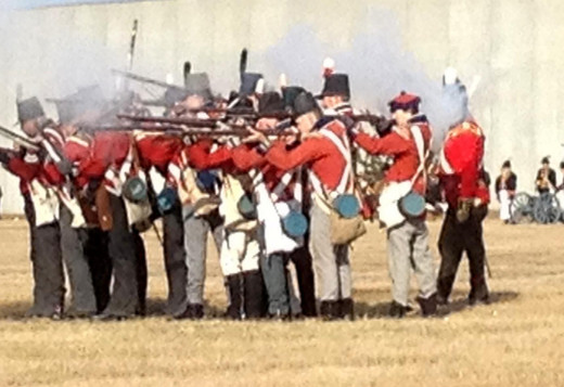 British marched close together and fired as one.