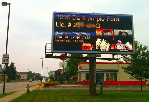 A BillBoard displaying an Amber Alert Message in US