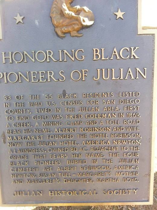Plaque honoring early Black settlers to Julian