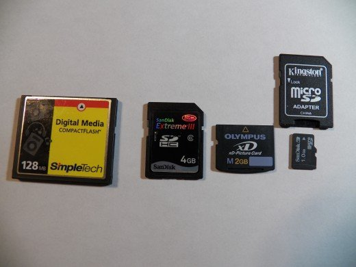 Compact Flash, SDHD, XD card, Micro SD with adapter