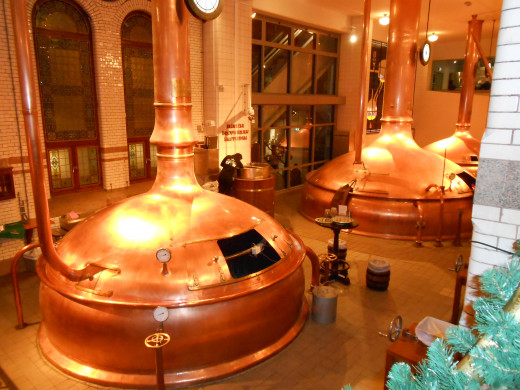 Huge vats used in the Heineken brewing process.