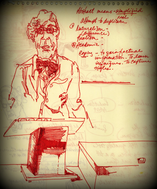 This drawing was done of an art professor during a very long lecture.