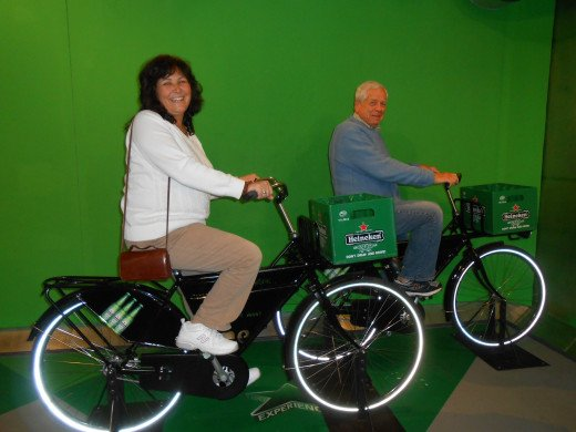 Posing for a bike picture in The Heineken Experience to email to our friends back home in the U.S.