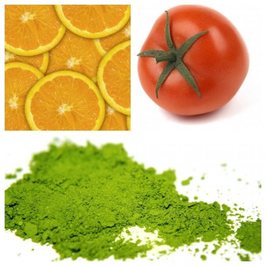 oranges, tomatoes and matcha are great for nourishing your skin and for boosting your immunity.