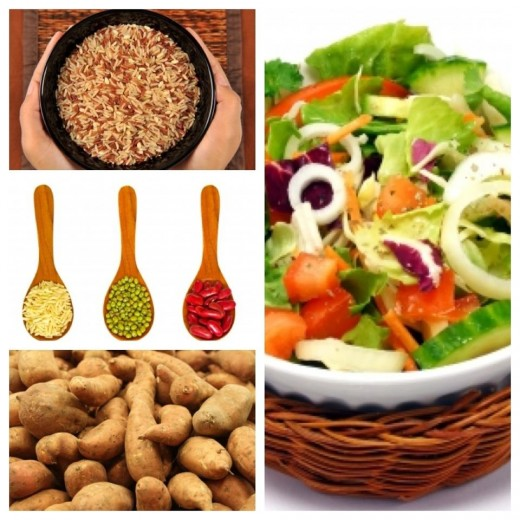 Whole grains, legumes, sweet potatoes and green leafy vegetables are a great source of vitamins A, B and even C. Important vitamins for renewing skin cells.