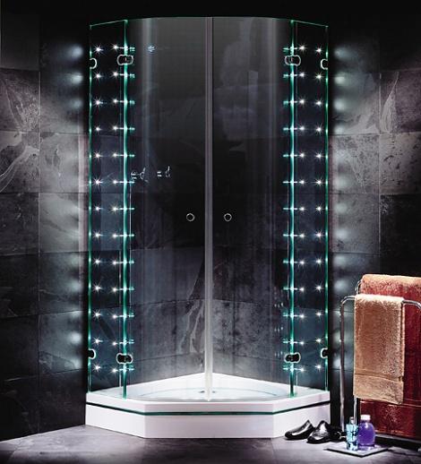 Shower enclosure with LED lights