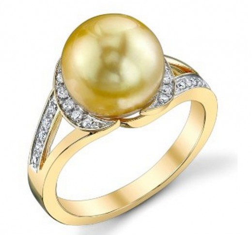 Beautiful Golden South Sea Pearl Ring, 10 mm pearl and 14k gold. Under $1,000