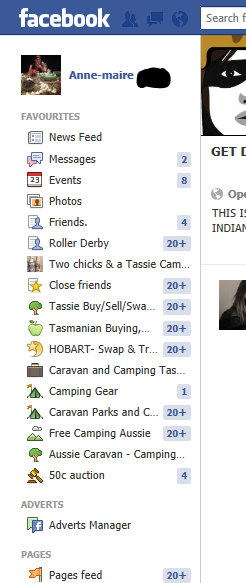 Favourites, pages, groups menu.