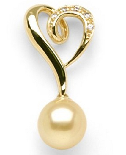 Heart Shaped South Sea Golden Pearl Pendant with Diamonds $560