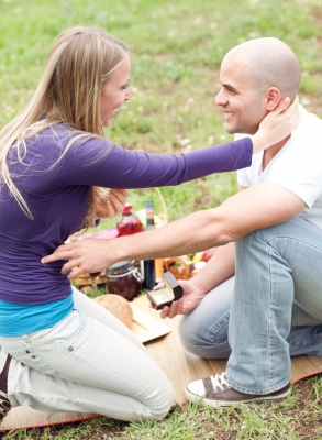 you never know . . . your partner may pop the question on a romantic picnic!